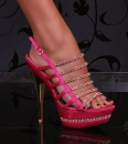 Sexy Plateau - High-Heels - Pumps - Peeptoes mit Strass pink