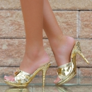 Sexy High-Heels, Peeptoes, Sandalen mit Strass gold