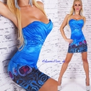 Bandeau-Minikleid in Pfauen-Look Strass blau
