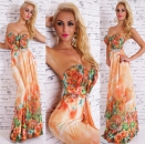 Sexy Sommer-Maxikleid mit Blumen orange